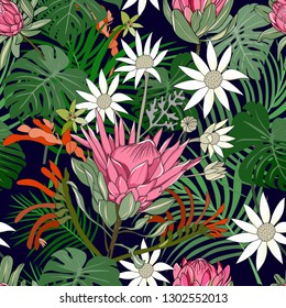 mixed hand drawn australia native flower seamless pattern