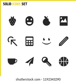 Mixed icons set with basketball, tea and click here elements. Set of mixed icons and graphite concept. Editable vector elements for logo app UI design.
