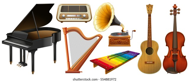 Mixed musical instruments on white