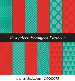 Mixed Polka Dot, Chevron, Stripes and Geometric Faceted Triangle Seamless Patterns in 2 Pantone 2013 colors of the year: Emerald Green and Poppy Red. Included: Pattern Swatches made with Global Colors