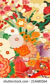 mixed season kimono motifs