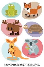 Mixed set of cartoon animals
