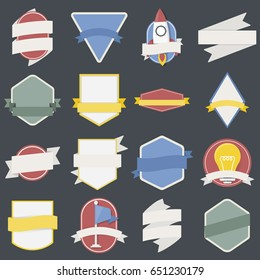 Mixed Set of Light Bulb Spaceship Flag Badges Emblem Label Icon Illustration Vector