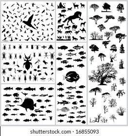 Mixed silhouettes set birds mamals fishes trees insects reptiles