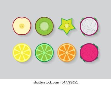 Mixed slice fruits (Apple, Kiwi, star fruit, pitaya, lemon, lime, orange)