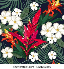 mixed tropical flowers with bromeliad stalk seamless pattern in vector illustration