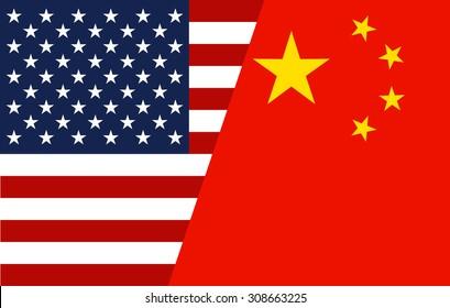 Mixed USA and China flag