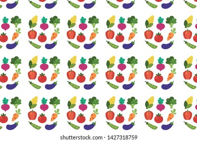 mixed vegetables vector pattern design for textile printing, transparent background