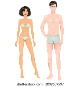 Mixed-race couple. Paper dolls, young woman and guy in underwear. Body templates