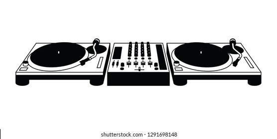 Mixer and 2 turntables DJ system vector pictogram.