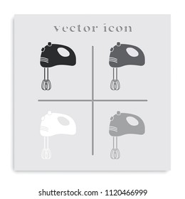 Mixer flat black and white vector icon. Kitchen equipment.