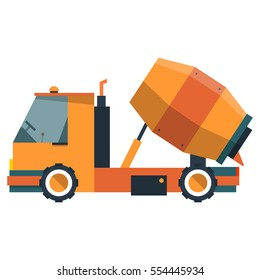 Mixer in flat style. Construction equipment for pouring of cement. Vector illustration on a white background