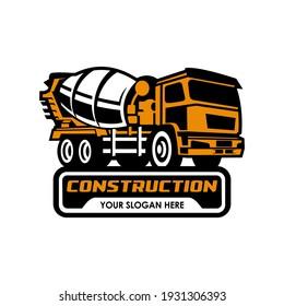 mixer truck logo vector symbol