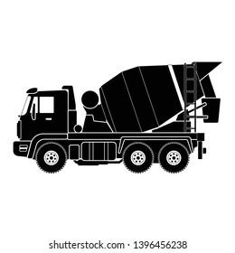 Mixer truck vector icon. Concrete mixer car illustration.