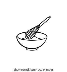 Mixing bowl with a wire whisk hand drawn outline doodle icon. Kitchen utensil - whisk and bowl vector sketch illustration for print, web, mobile and infographics isolated on white background.