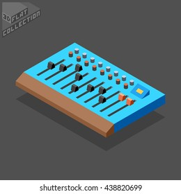 Mixing Console. Musical Equipment. 3D Isometric Low Poly Flat Design. Vector illustration.