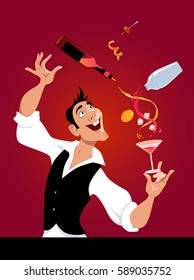 Mixologist demonstrates flair bartending making a cocktail, EPS 8 vector illustration, no transparencies