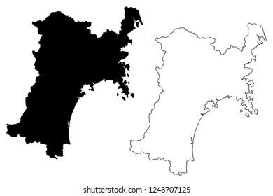 Miyagi Prefecture (Administrative divisions of Japan, Prefectures of Japan) map vector illustration, scribble sketch Miyagi map