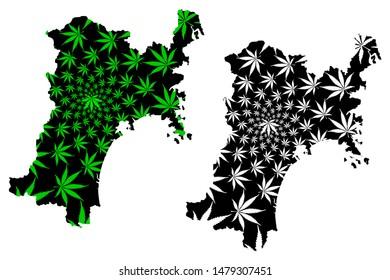 Miyagi Prefecture (Administrative divisions of Japan, Prefectures of Japan) map is designed cannabis leaf green and black, Miyagi map made of marijuana (marihuana,THC) foliage,