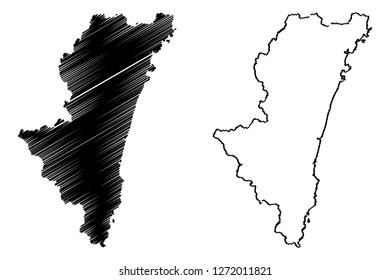 Miyazaki Prefecture (Administrative divisions of Japan, Prefectures of Japan) map vector illustration, scribble sketch Miyazaki map