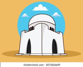 Mizar e Quid Mausoleum of Muhammad Ali Jinnah Karachi Sindh Pakistan vector illustration design