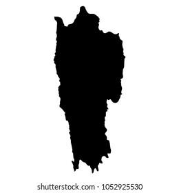 Mizoram black map on white background vector