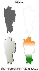 Mizoram blank detailed outline map set - vector version