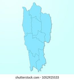 Mizoram blue map on degraded background vector
