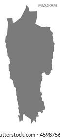 Mizoram India Map grey