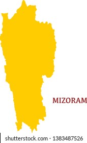 Mizoram, India, vector map. High detailed  illustration. - Vector