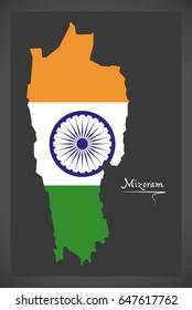 Mizoram map with Indian national flag illustration