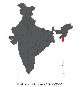 Mizoram red on gray India map vector