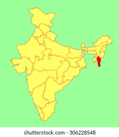 Mizoram state, India, vector map silhouette illustration isolated on India map. Editable blank vector map of India.