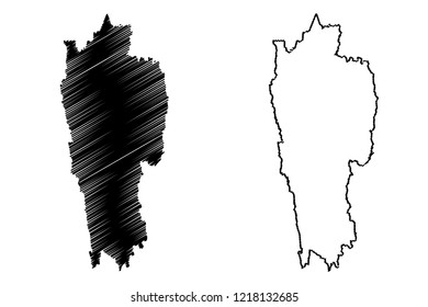 Mizoram (States and union territories of India, Federated states, Republic of India) map vector illustration, scribble sketch Mizoram state map