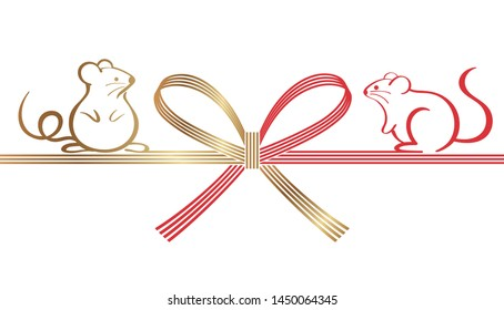Mizuhiki - Japanese decoration strings - for the Year of the Rats greeting cards. Vector illustration isolated on a white background.