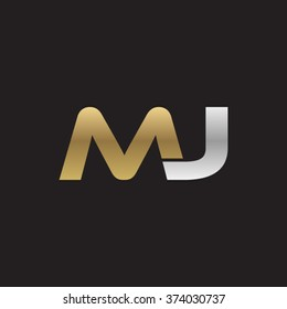 MJ company linked letter logo golden silver black background