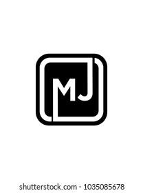 MJ initial box letter logo template vector