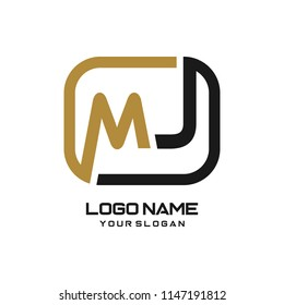 MJ initial box letter logo template vector