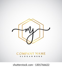MJ Initial Handwriting logo template vector