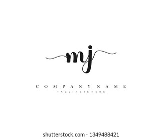 MJ initial handwriting logo template with luxury color vector
