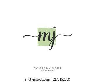 MJ Initial handwriting logo vector
