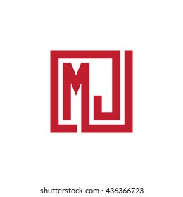 MJ initial letters looping linked square logo red