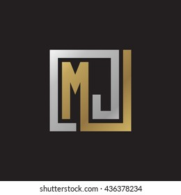 MJ initial letters looping linked square elegant logo golden silver black background
