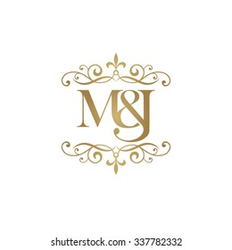 M&J Initial logo. Ornament ampersand monogram golden logo