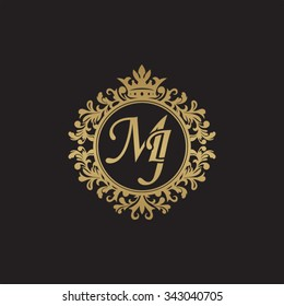MJ initial luxury ornament monogram logo