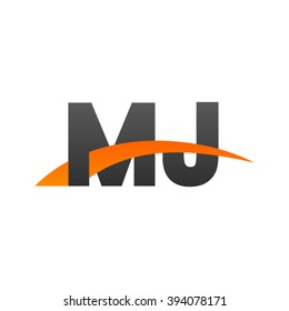 MJ initial overlapping swoosh letter logo black orange
