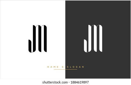 MJ ,JM  Abstract Letters Logo Monogram