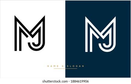 MJ ,JM  Abstract Letters Logo Monogram