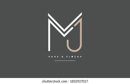 MJ ,JM ,M ,J  Abstract Letters Logo Monogram