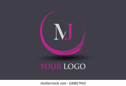 MJ Letter Logo Circular Purple Splash Brush Concept.